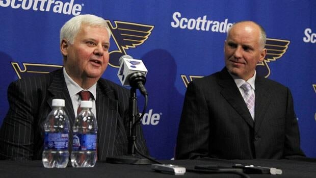 St. Louis Blues general manager Doug Armstrong, right, won the NHL's general manager last season in no small part due to hiring Ken Hitchcock as coach.