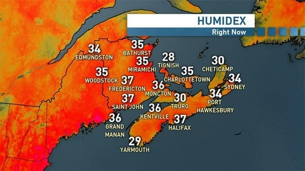 Humidex readings for the Maritimes as of 3:21 p.m. Thursday.
