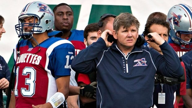 Veteran Alouettes QB Anthony Calvillo, left, has a new head coach in Dan Hawkins, right, after the departure of Marc Trestman to the NFL.