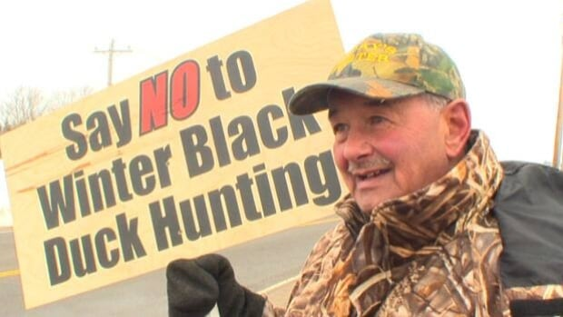 Lorne Yeo is protesting proposed changes that would lengthen the black duck hunting season and increase the total number of ducks hunters may take per day.