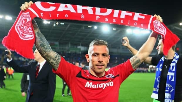 Craig Bellamy celebrates after Cardiff's draw with Charlton on Tuesday.