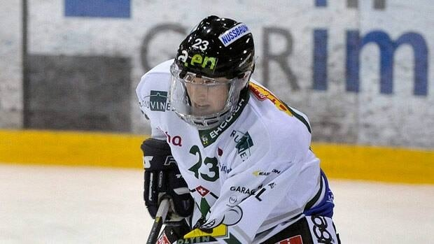 Olten's Ronny Keller, seen in a January game, was sent headfirst into the corner.