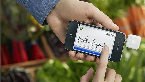 Merchants can turn their smartphones into registers using the Square credit card reader and having customers sign with their finger.