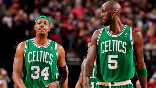 Paul Pierce, left, and Kevin Garnett of the Boston Celtics are rumoured to be part of a blockbuster trade with the Brooklyn Nets.