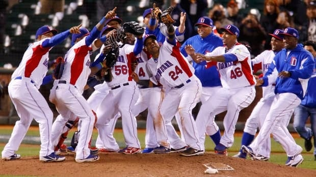 The Dominican Republic team celebrates after defeating the Netherlands during their semifinal World Baseball Classic game Monday in San Francisco, Calif.