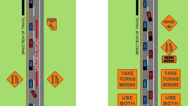 The differences between a regular merge and a zipper merge.