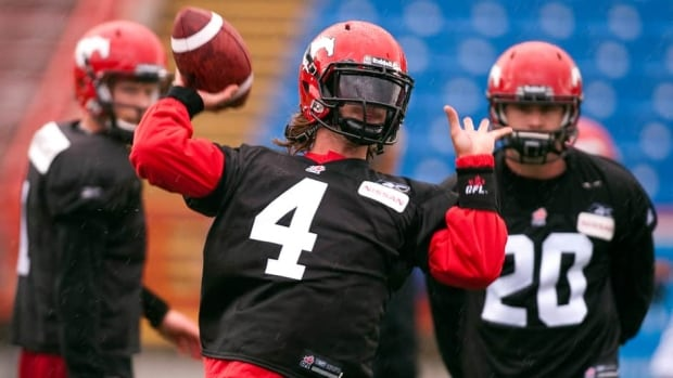 Calgary Stampeders quarterback Drew Tate throws the ball during the first day of training camp Sunday in Calgary.