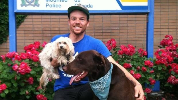 Frank Choltco-Devlin was reunited with his chocolate brown Labrador Wyatt in Kelowna, B.C.