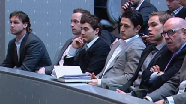Edmonton Oilers Ryan Smyth (left), Nick Schultz, Jordan Eberle and Shawn Horcoff attended Wednesday's meeting along with team president and CEO Patrick Laforge.