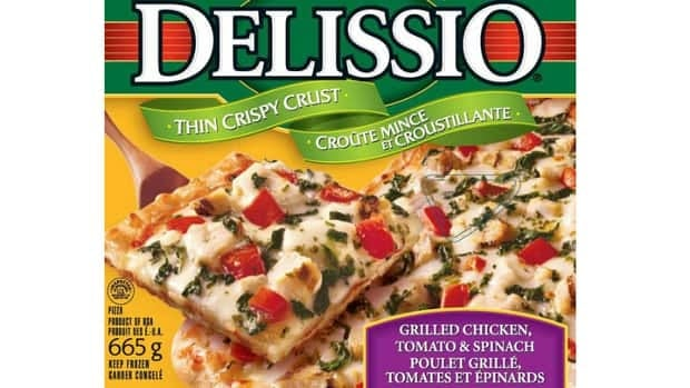 Canadian Food Inspection Agency says Delissio brand Thin Crispy Crust Grilled Chicken, Tomato and Spinach pizza may contain pieces of plastic.