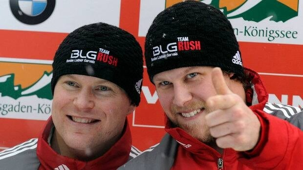 Canadians Lyndon Rush, left, and Jesse Lumsden celebrate after they won the two-man bobsleigh World Cup event in Koenigssee, Germany on Saturday.