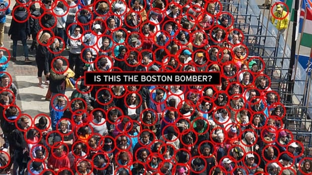 This image from online blog Gawker highlighted how people on the internet have taken to widespread speculation about the identity of the attacker or attackers in the Boston Marathon bombings based on photos and videos from the scene.