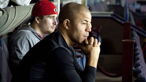Jarome Iginla, with teammate Roman Cervenka in the background, had been on the sidelines in Calgary until Wednesday.