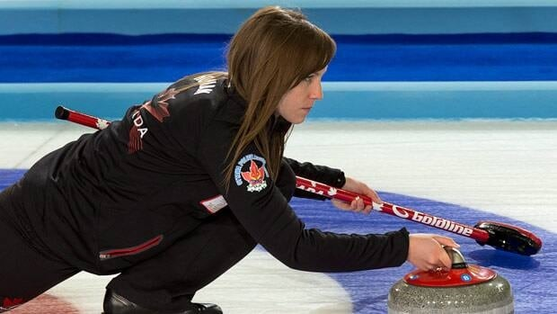 Canada's skip Rachel Homan delivers a stone against Germany in Riga, Latvia on Wednesday.