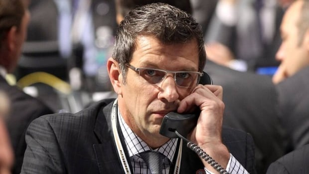 Executive Vice President and General Manager Marc Bergevin of the Montreal Canadiens speaks during the 2013 NHL Draft on June 30, 2013.