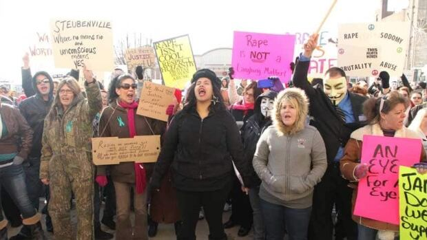 People protest at the Jefferson County Courthouse in Steubenville, Ohio, on Jan. 5, 2013.