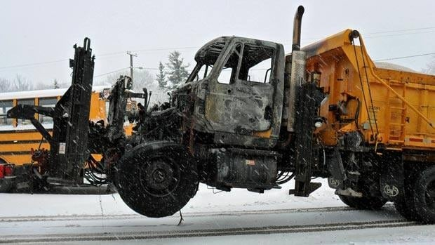 A snow plow was severely damaged in an early morning fire in Moncton, according to the provincial government.