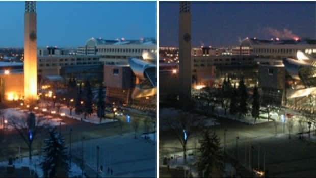City Hall turned the lights off during Earth Hour, but it is difficult to say how many others in Edmonton joined in.