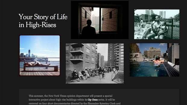Screencapture from the New York Times' website calling for submissions from readers to show what highrise living is all about.