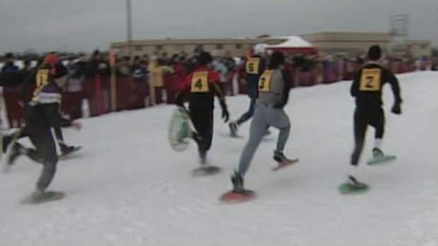 Snowshoe racing at the Labrador Winter Games.