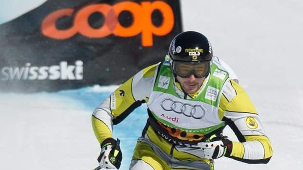 Canada's Nik Zoricic, seen moments before crashing in the skicross finals at Grindelwald, Switzerland, on March 10, 2012.