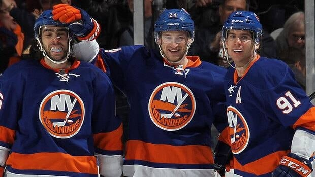 Islanders forward Brad Boyes, middle, has seen maturing teammates Matt Moulson, left, and John Tavares, right, lead the team as it pursues its first playoff berth since 2007.