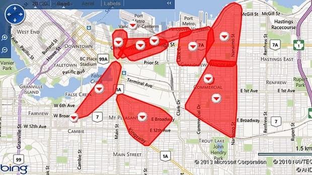 Lower Mainland neighbourhoods affected by power outage Friday afternoon.