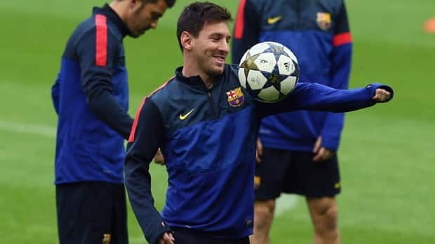 Lionel Messi, shown practising Monday, came off the bench in the last Champions League match for Barcelona.