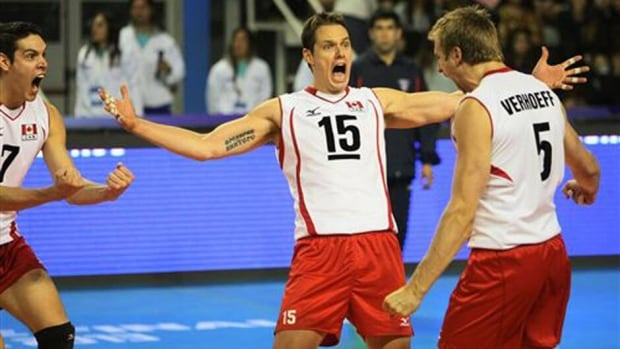 Fred Winters of Canada celebrates with teammates against Russia during their World League volleyball match Thursday in Mar Del Plata, Argentina.