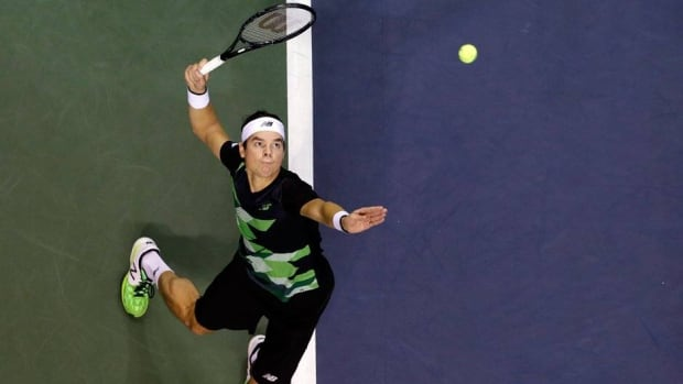 Milos Raonic, shown in this file photo, took out Martin Cilic 3-6, 6-4, 6-3 on Tuesday.