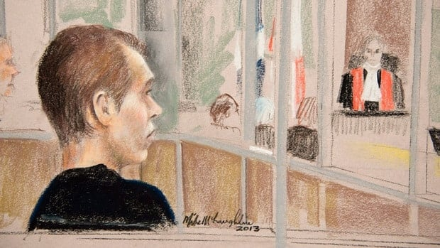 Luka Magnotta, charged with first-degree murder in the death of Concordia University student Jun Lin, appeared to wipe away tears during testimony on Thursday.