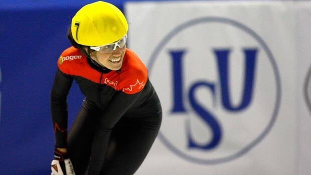 Marie-Eve Drolet of Laterriere, Que., seen at a previous competition, won the women's 3,000 metres title at the Canadian Open short-track championships in Montreal on Sunday.