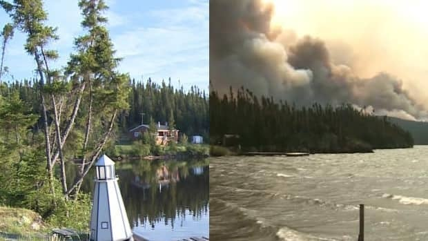 Before-and-after images of Moosehead Lake in Labrador, showing damage from forest fires over the last three weeks.