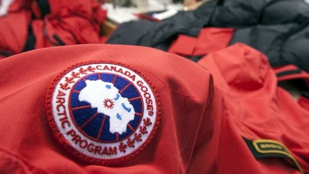 The signature patch that makes Canada Goose parkas instantly recognizable is seen on a jacket being made at the company's facility in Toronto.
