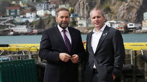 NDP MP Ryan Cleary(right), Tom Mulcair (left) head of the federal NDP and leader of the Official Opposition of Canada. Cleary wrote a letter to the federal auditor general to look at funding decisions made by Enterprise Cape Breton Corporation.