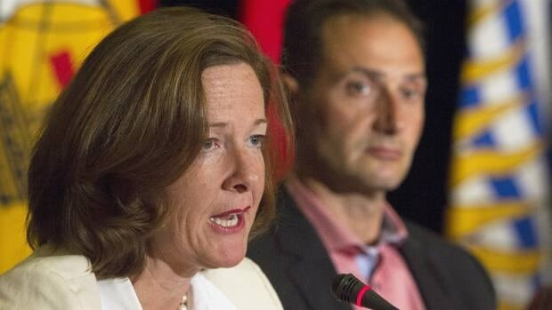 Alberta Premier Alison Redford addresses the media during the closing news conference on the final day of the Council of the Federation summer meeting in Niagara-on-the-Lake, Ont., Friday.