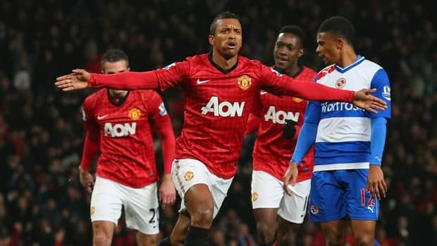 Nani of Manchester United celebrates after scoring the opening goal during the FA Cup match against Reading at Old Trafford on February 18, 2013.
