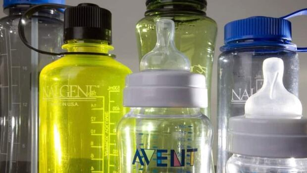 A collection of bottles that contain the compound bisphenol A are shown in 2008. A 2009-2011 report on environmental chemicals shows BPA was detected the urine of 95 per cent of Canadians aged three to 79.
