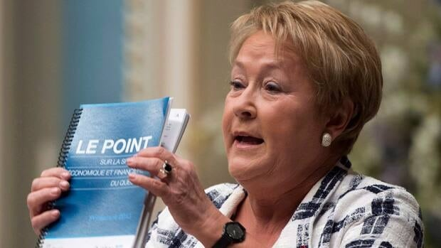 Quebec Premier Pauline Marois waves a copy of her government's economic update as she answers Opposition questions Wednesday, April 24, 2013 at the legislature in Quebec City.