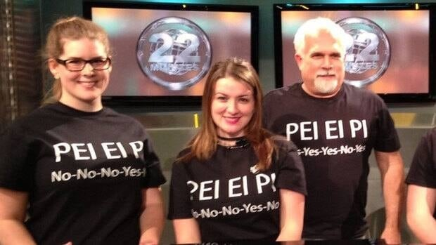 P.E.I.'s Lloyd Kerry (right) created T-shirts based on a popular This Hour Has 22 Minutes EI sketch.