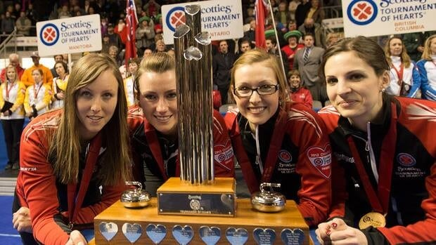 From left, Ontario's skip Rachel Homan poses with the Scotties Tournament of Hearts trophy with third Emma Miskew, second Alison Kreviazuk and lead Lisa Weagle following their win over Manitoba Sunday night in Kingston, Ont.