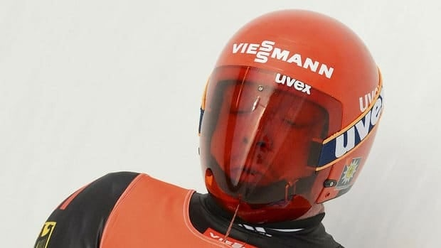 Felix Loch of Germany speeds down the track during the men's luge World Cup race in Oberhof, Germany, on Sunday. He won the competition and the European Championships.