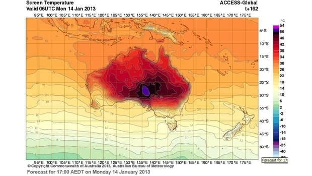 The Australia Bureau of Meteorology added two colours to the top of the scale on their heat map, Tuesday, Jan. 8, 2013.