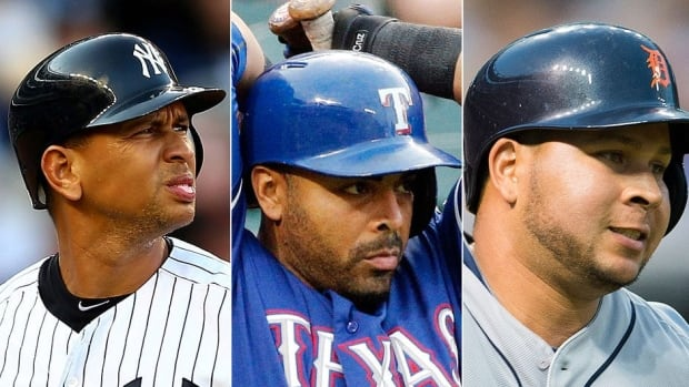 From left, Yankeees third baseman Alex Rodriguez, Rangers outfielder Nelson Cruz and Tigers shortstop Jhonny Peralta are expected to be suspended this week for their reported connection to Biogenesis, the alleged performance-enhancing drug distribution clinic.
