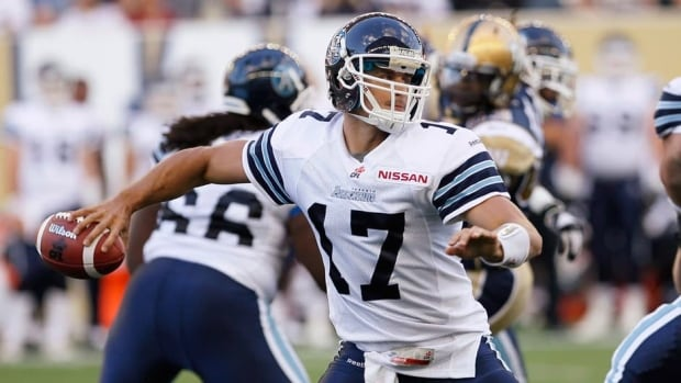 Zach Collaros during a pre-season game against the Winnipeg Blue Bombers at Investors Group Field in Winnipeg Wednesday, June 12, 2013.