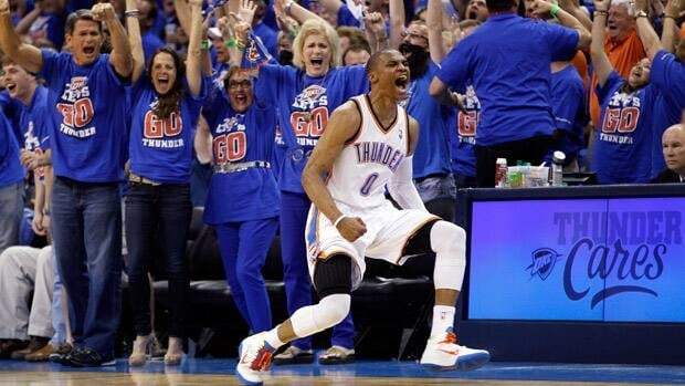 Oklahoma City Thunder guard Russell Westbrook (0) reacts after hitting a basket against the Los Angeles Lakers in the third quarter of Game 5 on Monday in Oklahoma City.