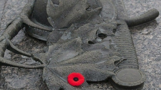 A single poppy lays atop the Tomb of the Unknown Soldier in Ottawa.