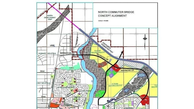 The city of Saskatoon used this blueprint for a north bridge in its public consultations.