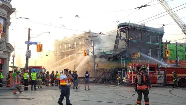 The fire closed down the busy intersection of Broadview Avenue and Gerrard Street East.