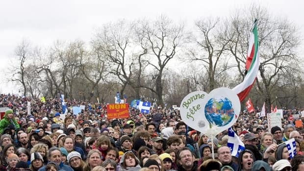 Thousands of people gather in Montreal on Sunday to mark international Earth Day.
